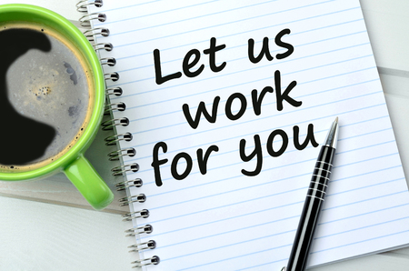 Llet us work for you on notebook and coffee cup