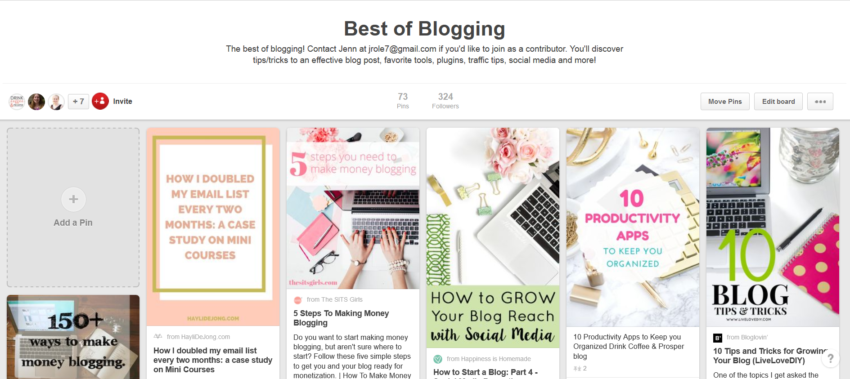 Best of Blogging Pinterest Board