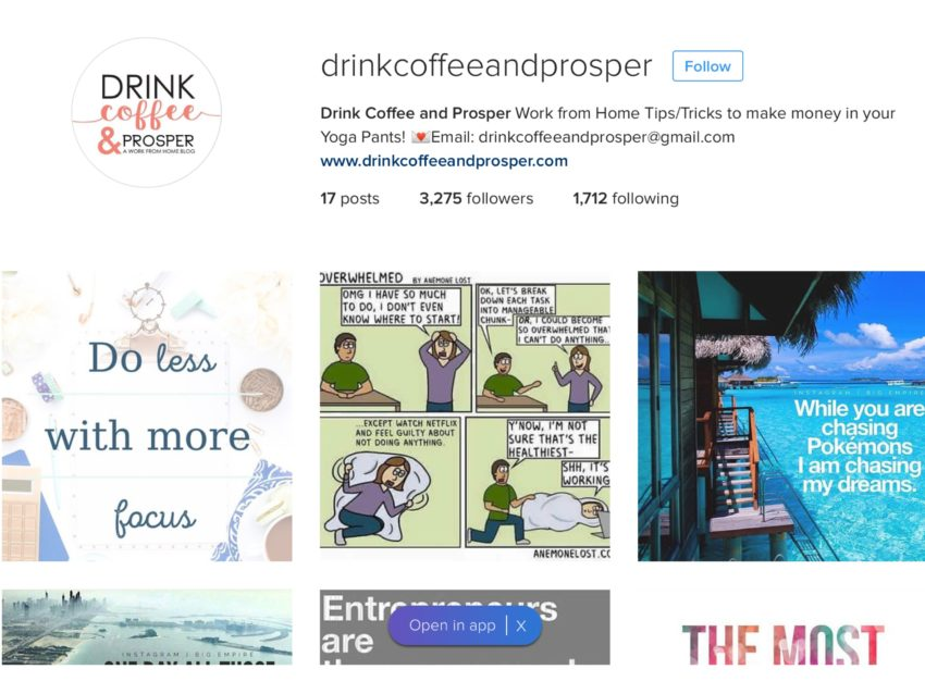 Drink Coffee & Prosper Instagram account